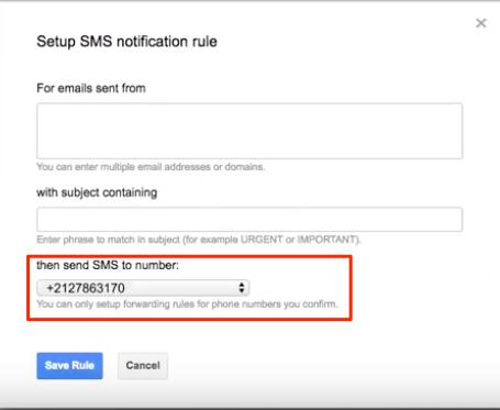Impostazioni SMS Notifiche